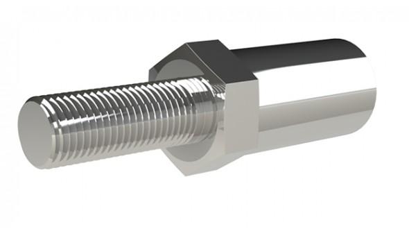 Billet Adjuster M14 to.687-18R FtoM Polished Stainless